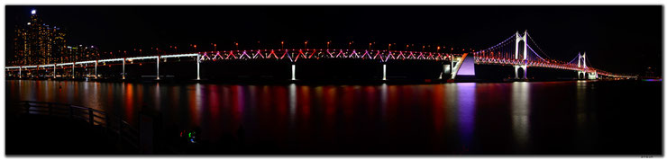 Busan.Gwangandaegyo Bridge at night by d-t-b