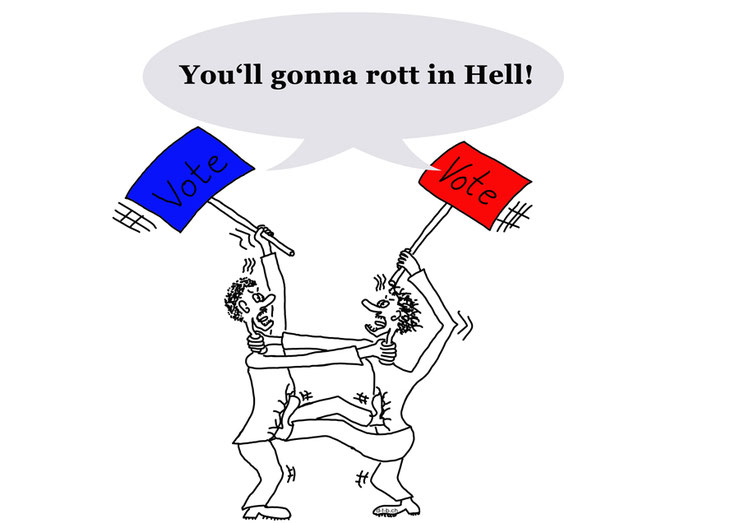 Cartoon of two people fighting with vote signs blaming each other
