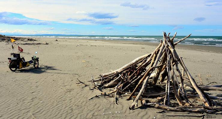 Meer mit Holzstapel und Liegedreirad am Strand