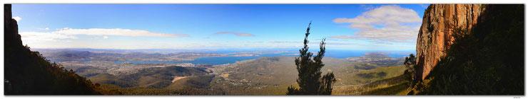 Panorama von Hobart am Fluss und die Orgelpfeifen.