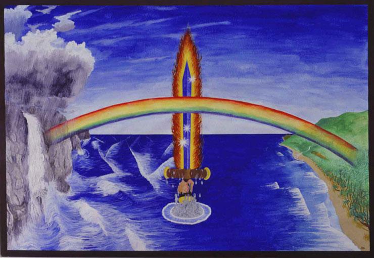 """Bild: """"Stärker als das Schwert"""",Wasserfarbe,Papier,gemalt,Schwert,Regenbogen,Meer,Wellen,Kreuz,Flammen,Felsen,Wasserfall,Sandstrand,Palmenwald,David Brandenberger,"""