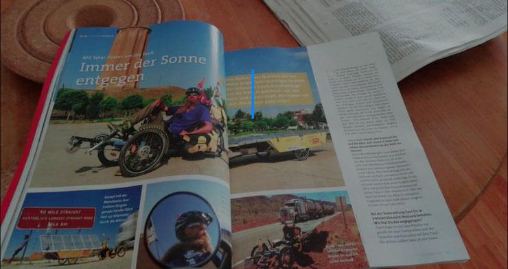 Illustrierte mit Bildern von Liegeradfahrer und Text.
