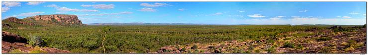 Panorama vom Kakadu Nationalpark mit Bergen und Wald