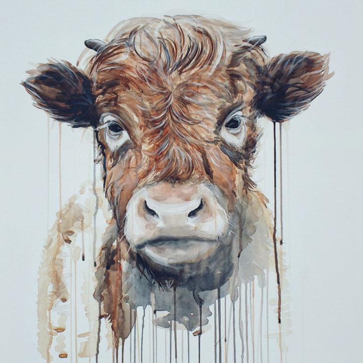 Baby Kuh , Kalb  mit Kunsttechniken der Acrylmalerei und Aquarell auf Leinwand © Ayla Phoenix Art