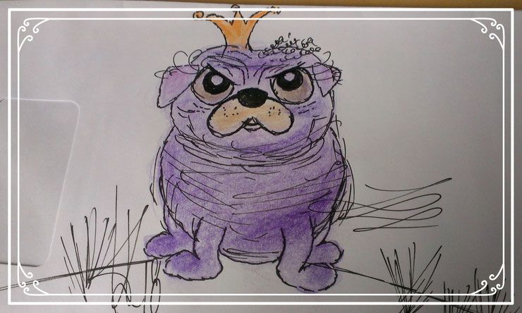 GrumpyPug by Holly Lavender #happyanimalsbyHolly