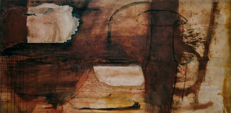 Untitled - Bilbao 2004 - Blood, milk and charcoal on canvas, 150x300 cm