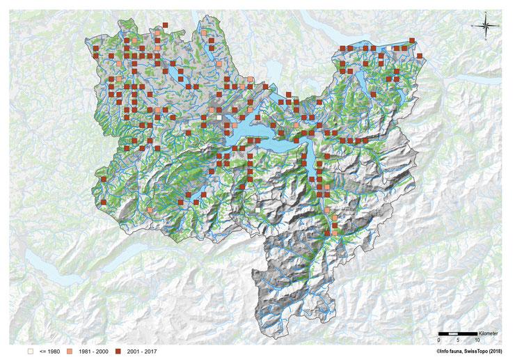 Nachweise der Zauneidechse in den Kantonen LU, OW, NW, SZ und Uri (weiss = vor 1980, lachsfarbig = 1981 bis 2000, braun = 2001 bis 2017). Copyright: info fauna / karch.ch