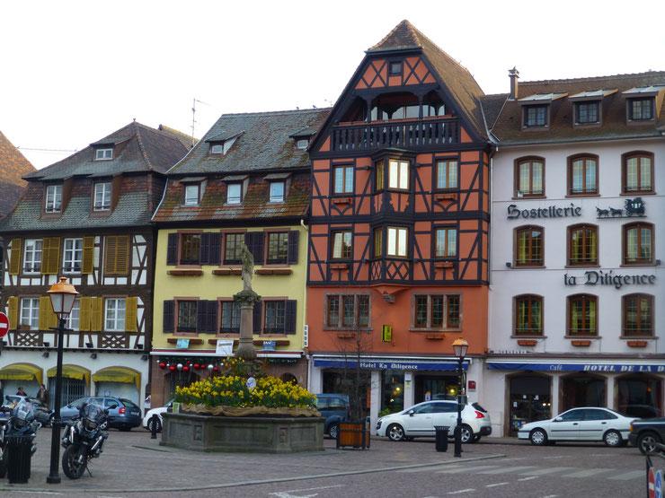 Fachwerk-Idylle pur auf dem Marktplatz von Obernai