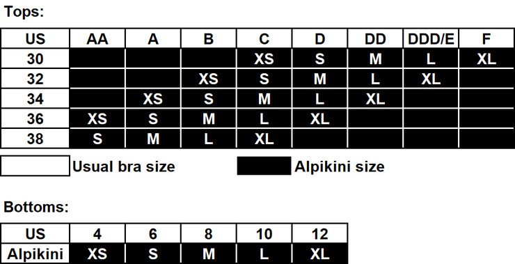 Alpikini - US Sizing Table