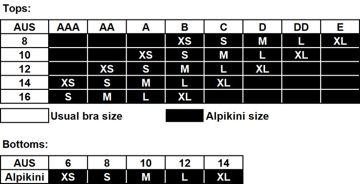 Alpikini - AUS Sizing Table