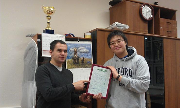 Буквально вчера (14 января 2013г) состоялось почти торжественное вручение ДИПЛОМА победителю финальной игры MARGIN !