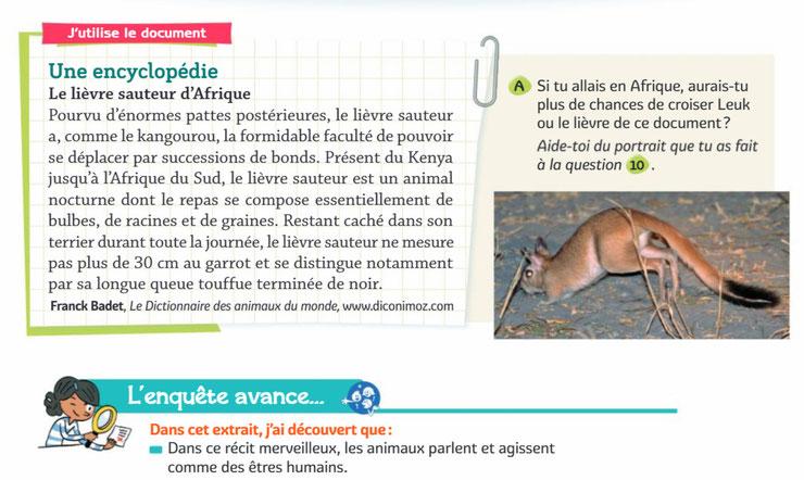 lievre sauteur fiche animaux editions bordas francais manuel scolaire pedagogique diconimoz dictionnaire encyclopedie des animaux