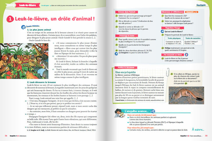 article lievre sauteur afrique manuel scolaire editions bordas francais cm1 education national pedagogique enquete