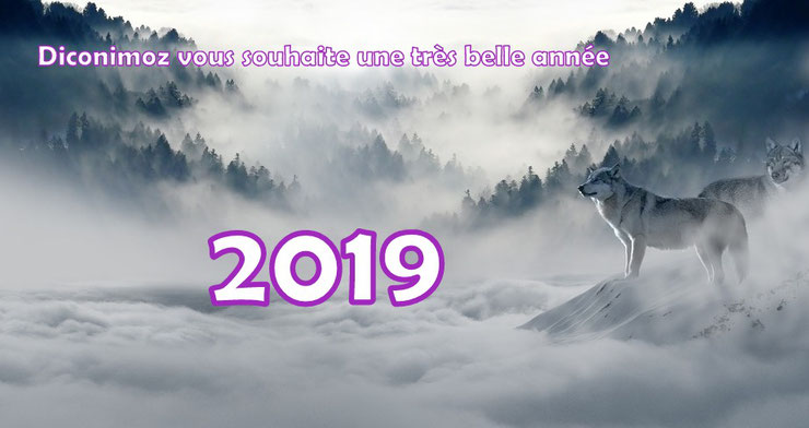 bonne annee 2019 animaux happy new year animal wolf loup