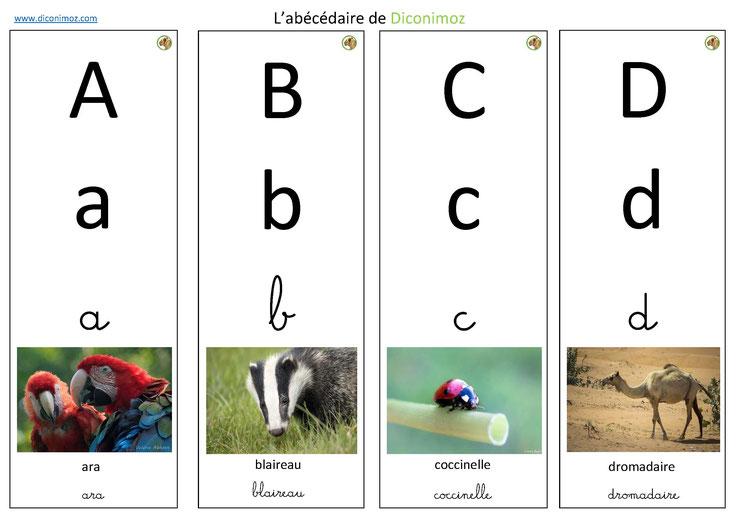 abecedaire animaux diconimoz a télécharger et a decouper de A à Z au format pdf ecriture cursive script majuscule minuscule
