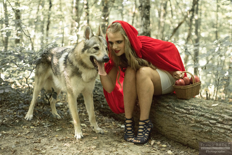 animaux shooting chien loups tchecoslovaques chaperon rouge modele femme fille photographe franck badet lyon tarare villefranche