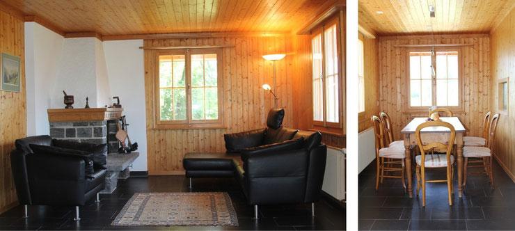 Abbildung 3: Heimeliges eingerichtetes Wohnzimmer mit Cheminée; Abbildung 4: Helles, stilvoll eingerichtetes Esszimmer