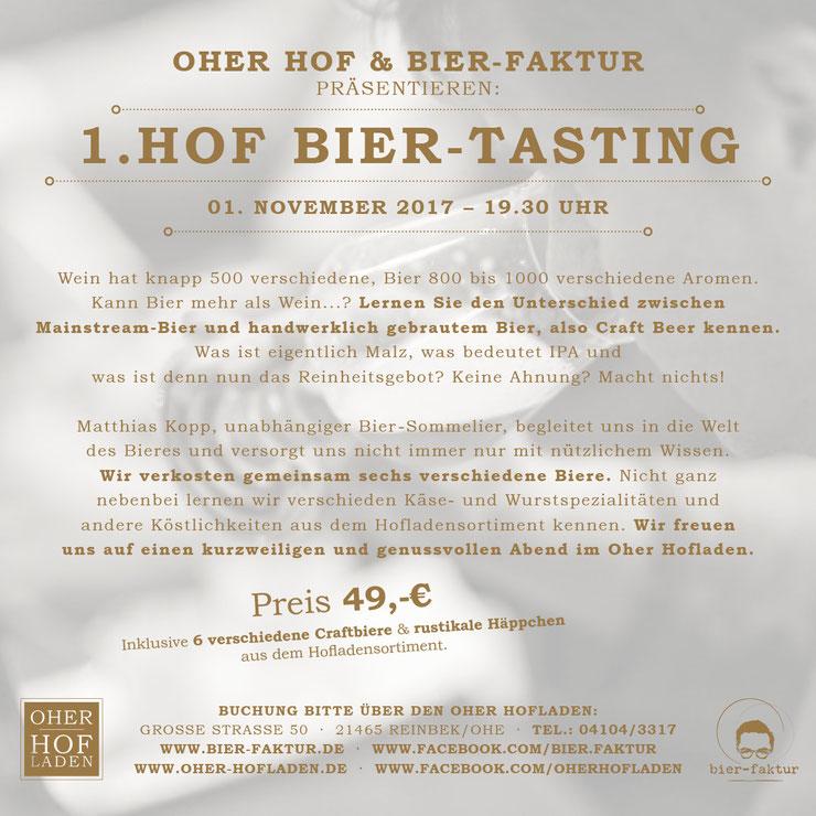 Einladung zum Craftbeer Tasting mit Matthias Kopp Biersommelier Bierfaktur im Oher Hofladen