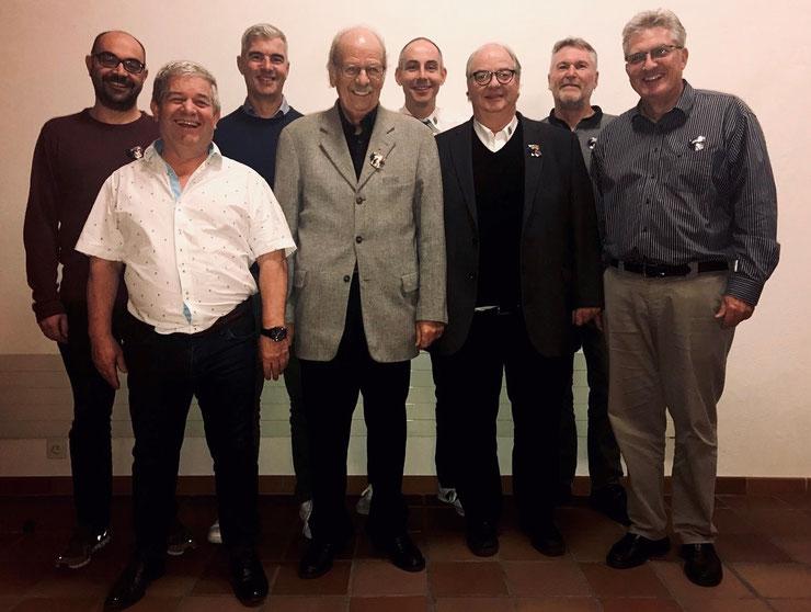 Der neue Zunftrat auf einen Blick (von links nach rechts): Markus Kilchherr, Alex Meyer (zurückgetretener Zunftrat), Daniel Schuwey, André Sprecher (Zunftmeister), Sascha Jörg (neugewählter Zunftrat), Georges Ehrmann, Edgar Ackermann und Peter Müller.