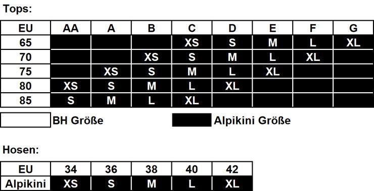 Alpikini - EU Größentabelle