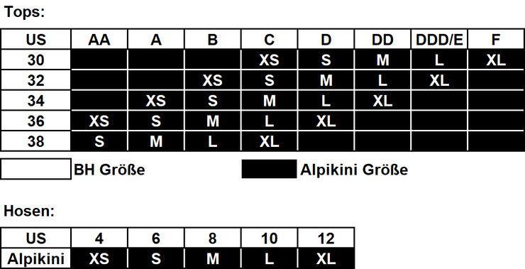 Alpikini - US Größentabelle