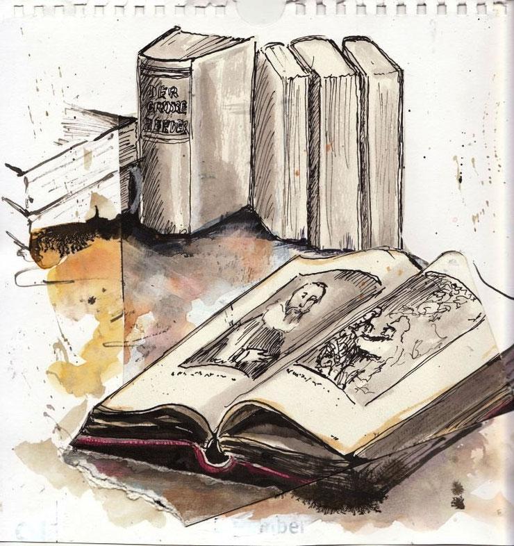 Gewichtig, so ein Werk des Wissens in Papierform. Bibliotheken nötigen Respekt ab, auch wenn alles etwas staubig riecht.