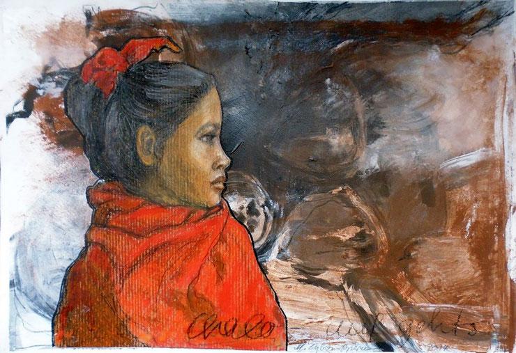 """Chalo - auf gehts, Mischtechnik, DIn A3, 2014. Chalo bedeutet so viel wie """"auf gehts"""" in Indien und ist auch ein Gruß. Mädchen fällt es dort aber nicht immer leicht, ihre Zukunft in die Hand zu nehmen."""