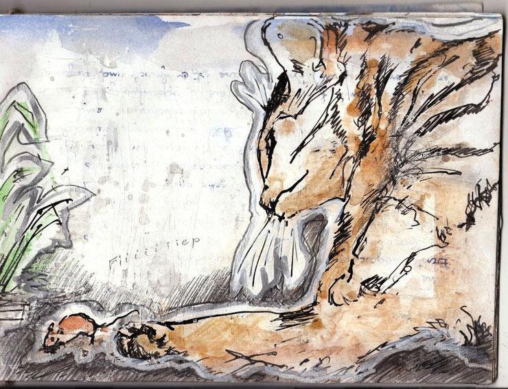 Tiger amüsiert sich mit lebendem Spielzeug. In der Geschichte hat das Mäuschen Glück und verschwindet im Loch.