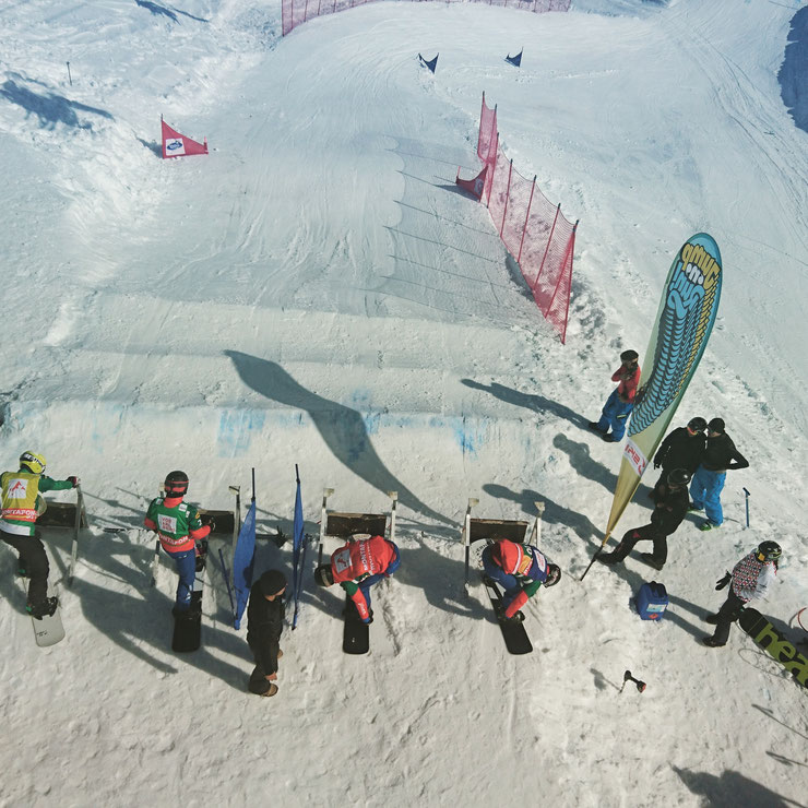Athletes preparing to compete in a SBX race