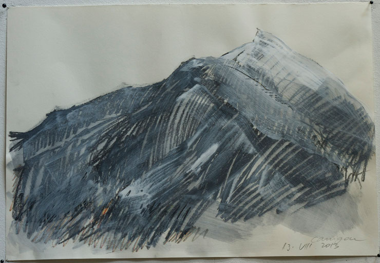 canigou / pyrenées  2013     graphite crayon gouache on paper    35  x  50   cm