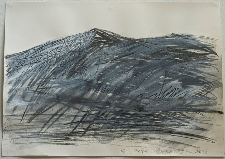 el avila  /  caracas 2013     coal  graphite crayon  gouache on paper     50  x  70   cm