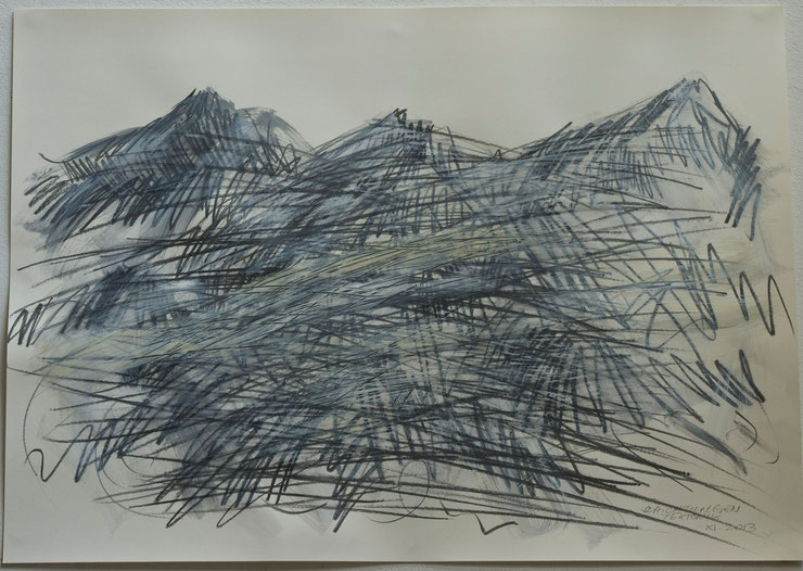 alps  2013   graphite crayon  gouache on paper    50  x  70   cm