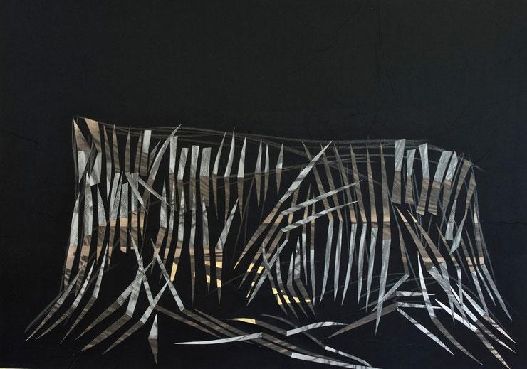 tepui  /  mount  roraima  2014     gold  leaf  ink  crayon   broux  de  noix    70  x  100  cm