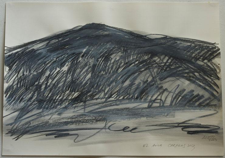el avila  /  caracas  2013    coal  garphite  crayon  gouache on paper    50  x  70   cm