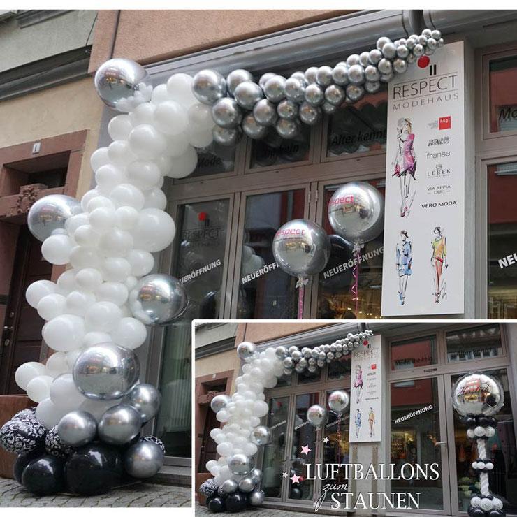 Girlande Ständer Organic Style Luftballon Ballon silber schwarz weiß Geschäftseröffnung Neueröffnung Laden Geschäft Neu Deko Dekoration Jubiläum personalisiert Herzlich willkommen Aufbau Firma Event Montage