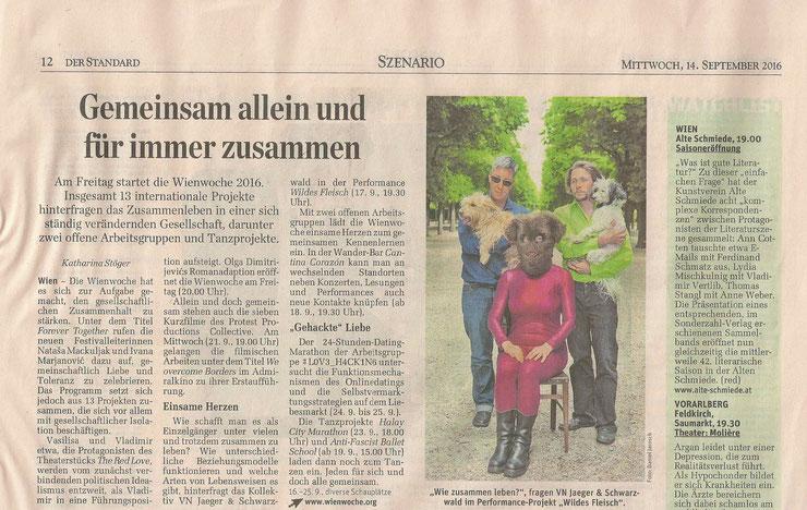 WILDES FLEISCH im Der Standard am 14. September 2016