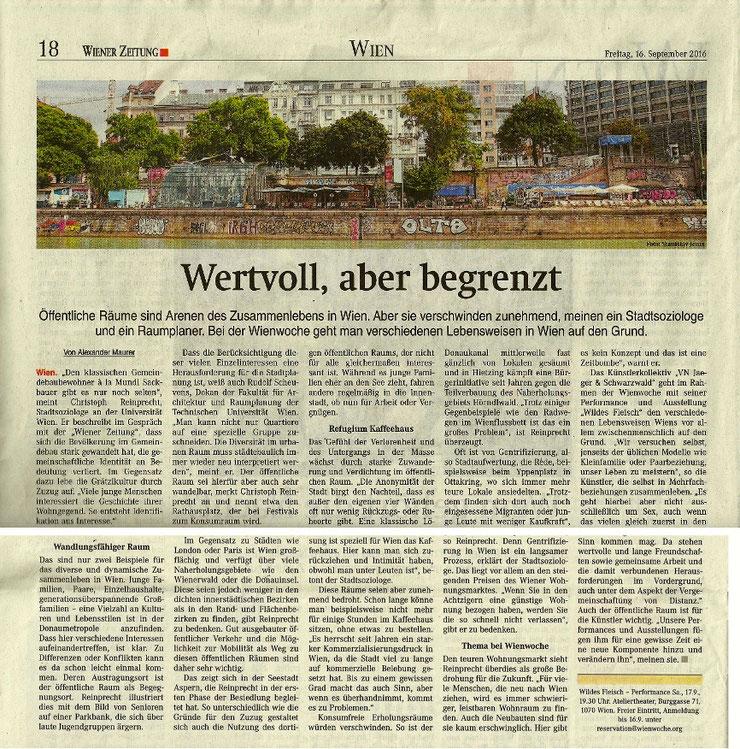 WILDES FLEISCH in der Wiener Zeitung am 16. September 2016