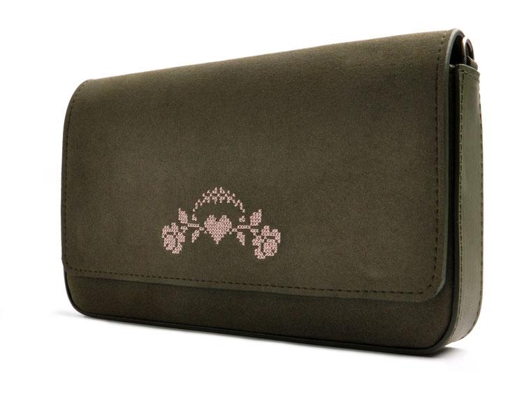 Trachtentasche Clutch in oliv und rose . Dirndltasche . Crossovertasche . OSTWALD Traditional Craft
