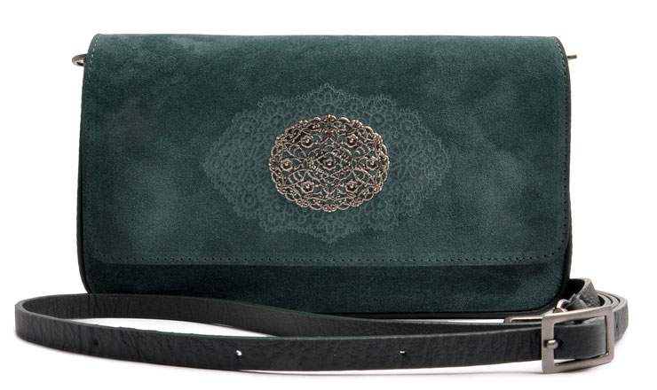 Trachtentasche Clutch in grün . Dirndltasche . Crossovertasche . OSTWALD Traditional Craft