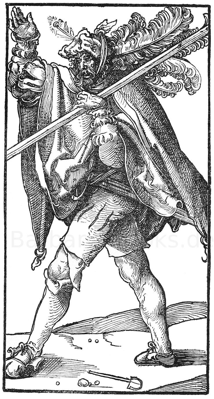 Landsknecht im 16. Jhd. Holzschnitt von Schäufelin (1480-1540). München, Kupferkabinett.