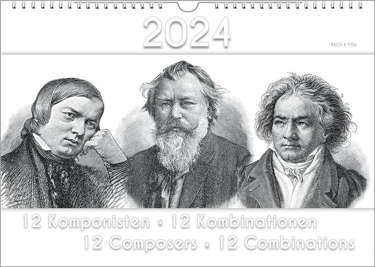 """Der Musik-Kalender ist ein Komponisten-Kalender im Breitformat. Links ist das inverse Portrait von Händel, als Negativ in schwarz/weiß. Im rechten Bilddrittel ist weiße Schrift mit Schatten auf weißem Grund: """"Komponisten ganz anders!"""""""