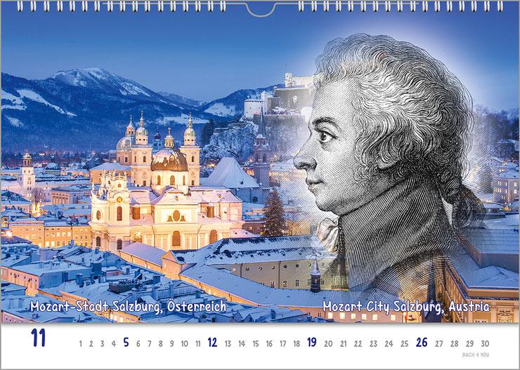 """Geschenk für Musiker: Komponisten-Kalender. Es ist ein realistisches Gemälde vom Österreicher Strauss, der einen riesigen Backbart trägt und am Betrachter vorbei schaut. Im Hintergrund und überall gibt es blaue Farbanteile, die """"das Bild  jung machen"""".."""