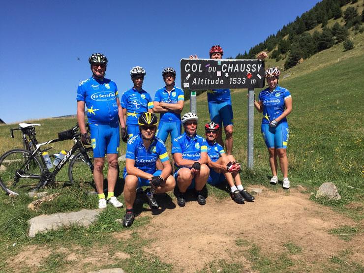 Tourtag Nr. 1 mit Fredo, Martin, Erich, Steff, Sandra, Anton, Ute, Charly und Klaus am Col du Chaussy