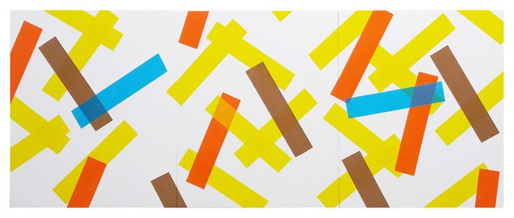 Rythme n°77, triptyque, dim. 48 cm x 120 cm, 2020