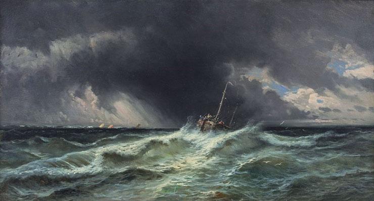 """Eugenio Amus, """"Burrasca nell'oceano con barcone da pesca"""""""