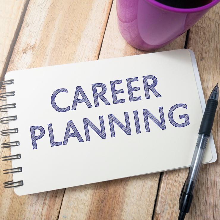 """Block mit """"Career Planning"""", Stift und Tasse"""
