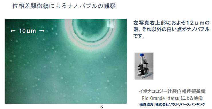 ナノバブルの観察(位相差顕微鏡)