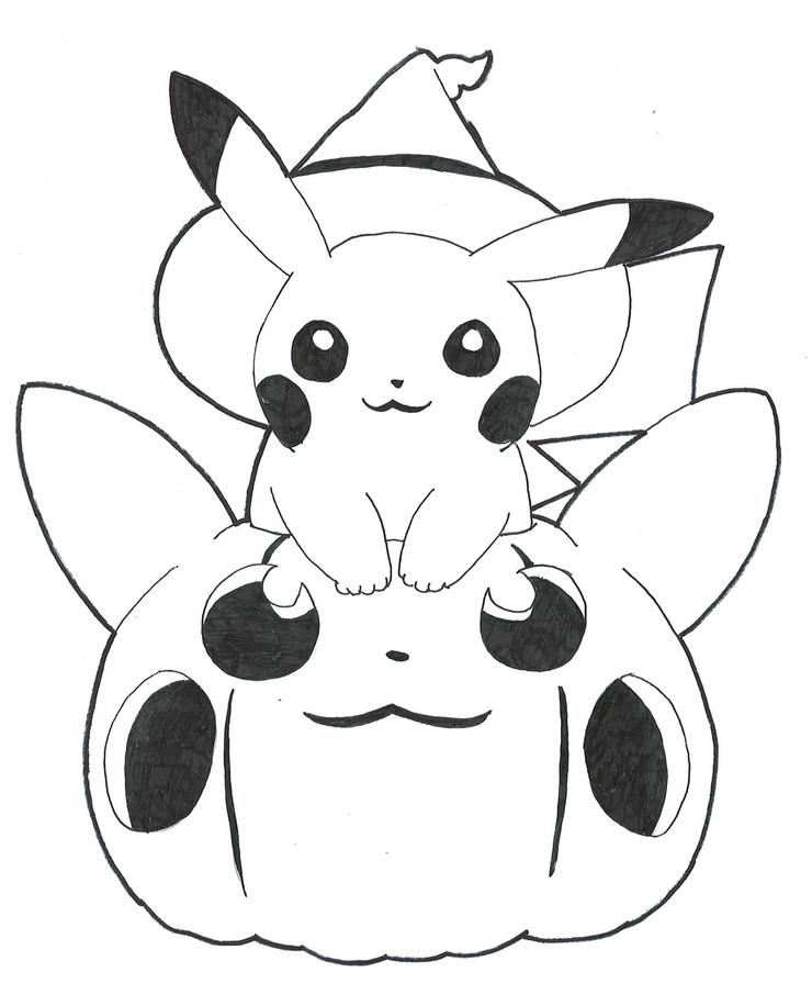 coloriage halloween pikachu pokemon citrouille