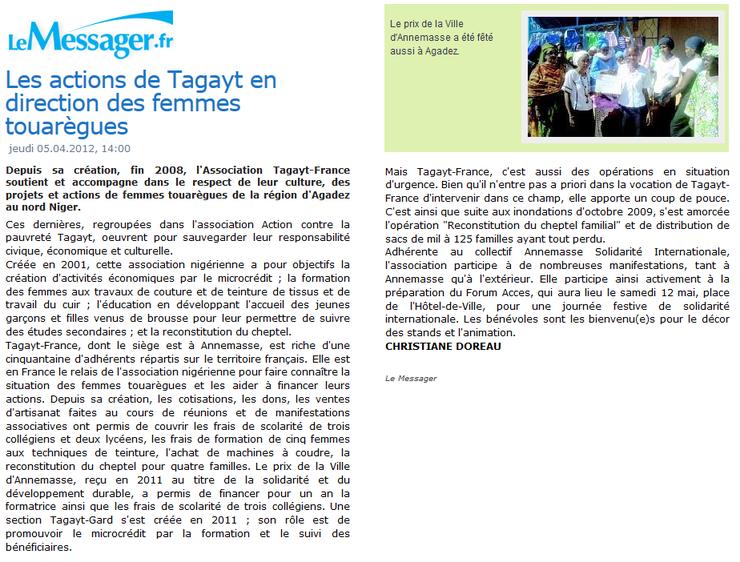 Tagayt - Action en direction des femmes touarèges