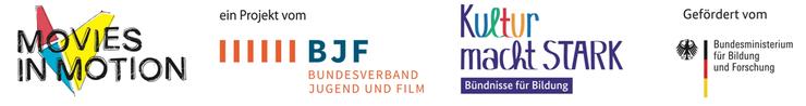 Projektpartner: Movies in Motion, Bundesverband Jugend und Film, Kultur macht Stark - Bündniss für Bildung, Bundesministerium für Bildung und Forschung